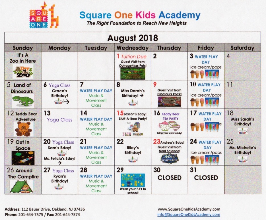Square One Kids Academy, Parent Resources, Calendar, August, 2018