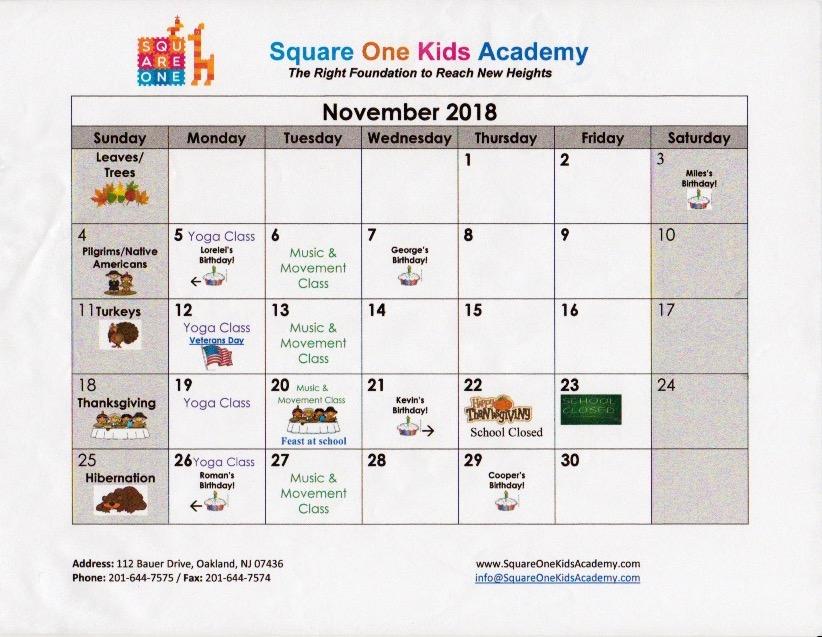 Square One Kids Academy, Parent Resources, Calendar, November, 2018