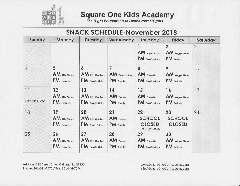 November 2018 Snack Schedule